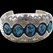 Turquoise Cuff, Sterling Silver, Vintage Bracelet, Navajo, Signed, P. Benally, Shadowbox, Small Wrist, Large, Big, Statement, Boho Bohemian