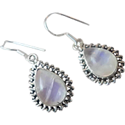 Moonstone Earrings, Sterling Silver, Pierced Earrings, Rainbow, Dangle Earrings, Ear Wires, Drop Earrings, 925, Gemstones, Boho Bohemian