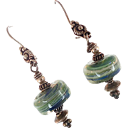 Green Glass Earrings, Lampwork Earrings, Sterling Silver, Glass Bead, Pierced Earrings, Dangle, Bohemian, Boho Jewelry, Studio Handcrafted