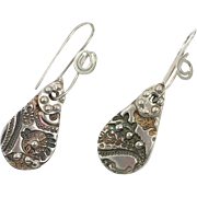 Silver Earrings, Artisan, Sterling Silver, Fine Silver, Unique, Unusual, Pierced Earrings, Dangle Earrings. Patterned, Handcrafted, Textured