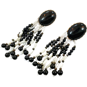 White Black Earrings, Black Onyx, Beaded Fringe, Vintage Earrings, Massive, Southwest, Oversized, 1980s, Long, Bohemian,Pierced, Large Big