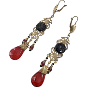 Art Nouveau, Vintage Earrings, Czech Glass, Brass, Red, Black, Statement, Long Beaded, Filagree, Glass Beads, Exotic, Boho, Massive, Big