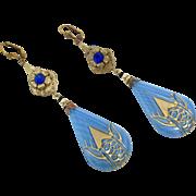 Art Deco Earrings Czech Glass Earrings, Brass, Blue, Vintage Statement, Long Beaded, Glass Beads, Exotic, Boho Bohemian, Flower, Unique