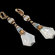 Czech Earrings, Czech Glass, Brass, 1930s, Vintage Earrings, Art Deco Style, Long, Glass Beads, Pierced, Bohemian, Beaded, Big, Large