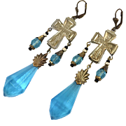 Cross Earrings, Czech Glass, Vintage Earrings, Blue, Brass, Vintage Statement, Massive, Huge, Long, Big, Glass Beads, Exotic, Boho, Unique