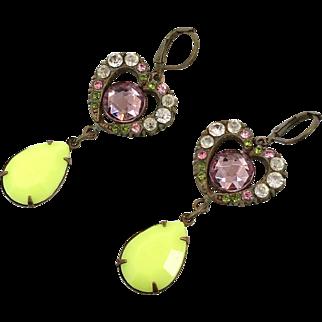 Heart Earrings, Czech Glass, Brass, Vintage Earrings, Statement, Pink, Yellow, 1930s, Long, Boho Bohemian, Czech, Unique, Patina, Rhinestone