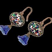 Blue Earrings, Confetti Glass, Czech Glass, Cobalt Blue, Flower, Brass Settings, 1930s, Vintage Earrings, Pierced Earrings, Dangle, NOS