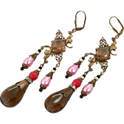 Art Nouveau Earrings, Massive, Czech Glass, Brass, Vintage Earrings, Statement,1920s, Filagree, Brown, Pink, Long, Boho Bohemian, Unique Art Nouveau Earrings, Massive, Czech Glass, Brass, Vintage Earrings, Statement,1920s, Filagree, Brown, Pink, Long