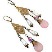 Pink Glass Earrings, Czech Glass, Brass, Vintage Earrings, Statement, Art Nouveau Style, 1920s, 1930, Long, Boho Bohemian, Big, Massive