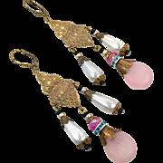 Pink Glass Earrings, Czech Glass, Brass, Vintage Earrings, Statement, Art Nouveau Style, 1920s, 1930, Long, Boho Bohemian, Big, Massive