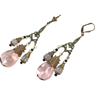 Pink Earrings, Czech Glass, Filagree, Brass, 1930s, Vintage, Art Deco Style, Long, Glass Beads, Pierced, Bohemian, Big, Large, Art Nouveau