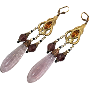 Pink Purple Earrings, Czech Glass, Filagree, Brass, 1920s, Vintage, Art Nouveau Style, Long, Glass Beads, Pierced, Bohemian, Big, Large