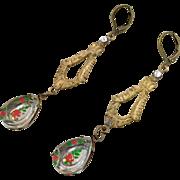 Flower Earrings, Czech Glass, Red Roses, Filagree, Brass, 1930s, Vintage, Art Nouveau Style, Long, Glass Beads, Pierced, Bohemian