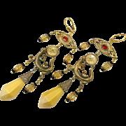 Lizard Earrings, Czech Glass, Brass, Vintage Earrings, Gecko, Art Nouveau Style, 1920s, Long, Boho Bohemian, Yellow, Orange, Unique, Massive