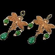 Dragonfly Earrings, Brass, Green Czech Glass, Vintage Earrings, Statement, Art Nouveau Style, Long, Glass Beads, 1920s, 1930s, Big, Huge