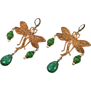 Dragonfly Earrings, Brass, Green Czech Glass, Vintage Earrings, Statement, Art Nouveau Style, Long, Glass Beads, 1920s, 1930s, Big, Huge