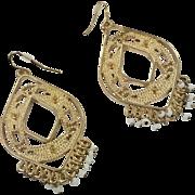 Boho Earrings, Statement, Massive, Gold, Vintage Earrings, Gypsy Earrings, Oversized, Pierced, Ethnic Tribal, Long Dangle, Bohemian, Big