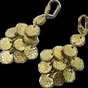 Gold Dangle Earrings, Gypsy Boho, Vintage Hippie, Long, Boho Jewelry, Pierced, Bohemian, Faux Coins, Statement, Ethnic, Tribal Jewelry