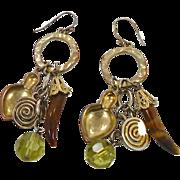 Vintage Earrings, Boho Earrings, Big Dangles, Tiger Eye, Bohemian, Gypsy Jewelry, Ethnic, Tribal, Hippie Earrings, Long, Big, Pierced