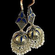 """Bell Earrings, Afghan Earrings, Vintage Earrings, Blue, Kuchi Gypsy, Boho Jewelry, Bohemian, Statement, Mixed Metals, 4"""" Long, Belly Dance"""