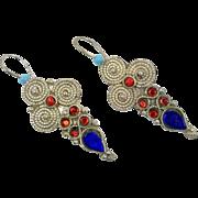 Boho Earrings, Vintage Earrings, Jeweled, Red, Blue, Kuchi Gypsy, Pierced Dangle, Afghan, Bohemian, Boho Statement, Large Big Long, Festival