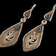 Lapis Earrings, Silver Earrings, Blue Stone, Vintage Earrings, Kuchi Boho Gypsy, Pierced, Composite, Afghan Jewelry, Bohemian, Ethnic Tribal