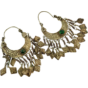 Kuchi Earrings, Big Hoops, Vintage Earrings, Patina, Brass, Old, Dangles, Ear Weights, Afghan Earrings, Boho Statement, Large Huge, Festival