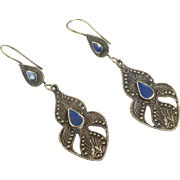 Lapis Earrings, Brass Earrings, Blue Stone, Vintage Earrings, Kuchi Boho Gypsy, Pierced, Composite, Afghan Jewelry, Bohemian, Ethnic Tribal
