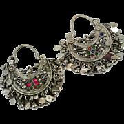 Hoop Earrings, Boho, Kuchi Earrings, Ear Weights, Red, Green, Blue, Pierced, Silver, Ethnic Jewelry, Big Festival, Tribal Afghan, Bohemian