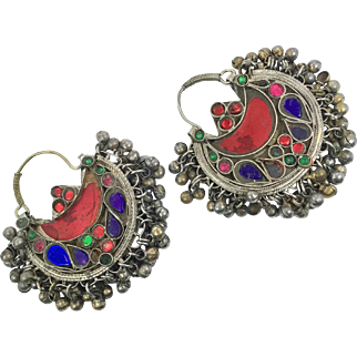 Hoop Earrings, Boho, Kuchi Earrings, Ear Weights, Blue, Red, Pierced, Silver, Patina, Ethnic Jewelry, Big Festival, Tribal Afghan, Bohemian