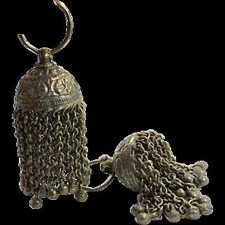 Bell Earrings, Afghan Earrings, Vintage Earrings, Ear Weights, Kuchi Gypsy, Boho Jewelry, Bohemian, Statement, Long, Belly Dance, Big