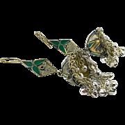 """Bell Earrings, Afghan Earrings, Vintage Earrings, Green, Kuchi Gypsy, Boho Jewelry, Bohemian, Statement, Mixed Metals, 4"""" Long, Belly Dance"""