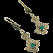 Bird Earrings, Green Stone, Vintage Earrings, Kuchi Earrings, Boho Gypsy, Afghan Jewelry, Bohemian, Ethnic Tribal, Composite Stone