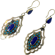 Lapis Earrings, Vintage Earrings,Large, Kuchi Gypsy, Turquoise, Boho, Pierced Dangle, Afghan Jewelry, Silver, Mixed Metal, Statement, Long
