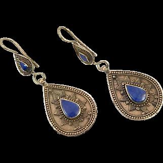 Lapis Earrings, Blue Stone,Vintage Earrings, Kuchi, Boho Gypsy, Kazakh, Kazakhstan, Afghan Jewelry, Bohemian, Ethnic Tribal, Composite Stone