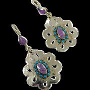 """Boho Earrings, Purple Earrings, Big, Kuchi, Gypsy, Vintage Jewelry, Pierced Dangle, Afghan, 3"""" Long, Bohemian, Statement, Massive, Big"""