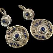 """Kuchi Earrings, Silver Earrings, Blue Inlay, Vintage Earrings, 3"""" Long, Boho Gypsy, Afghan Jewelry, Bohemian, Statement, Ethnic Tribal"""