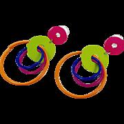 """Neon Earrings, Mod, Hot Pink, 3"""" Long, Green, Vintage Earrings, Massive, 1980s, Pierced, Dangles, Circles, Retro, Blue, Purple, Funky, Big"""