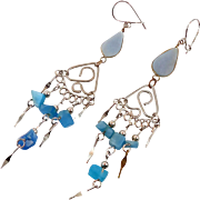 Peruvian Earrings, Blue Stone, Gypsy Earrings, Silver, Vintage Earrings, Ethnic Jewelry, Boho, Long Dangles, Big Earrings, Hippie, Statement