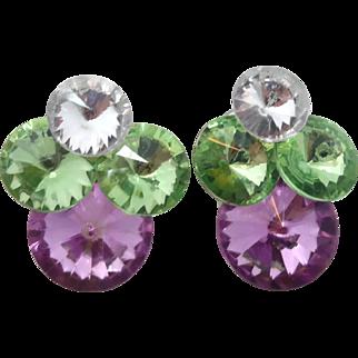 Rhinestone Earrings, Huge Statement, Vintage Earrings, Purple Green, 1980s, Bohemian Boho, Mod, Modern, Large Huge, Pierced, Pastel, Retro