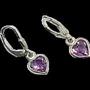 Heart Earrings, Amethyst, Sterling Silver, Vintage Earrings, Purple, Dangles, Sterling Earrings, Pierced Earrings, Purple Earrings