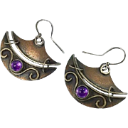 Amethyst Earrings, Sterling Silver, Copper, Purple, Vintage Earrings, Artisan, Handcrafted, OOAK, Contemporary, Studio, Unique, Unusual