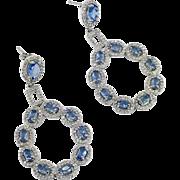 Sterling Earrings, Faux Tanzanite, Sterling Silver, Crystals, Vintage Earrings, Pierced, Dangles, Big Statement, Sparkling, Massive, Large