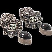 Marcasite Earrings, Black Onyx, Sterling Silver, Vintage Earrings, Pierced, Dangles, Black Stone, Art Deco Style, Art Nouveau Inspired