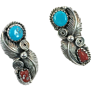 Turquoise Earrings, Red Coral, Sterling Silver, Vintage Earrings, Signed SF, Pierced Posts, Feathers, Native American, Country Western, 925