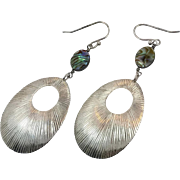 Abalone Earrings, Shell Earrings, Sterling Silver, Pierced, Modern, Contemporary, Boho, Large, Dangle, Vintage Earring, Big Long, Massive