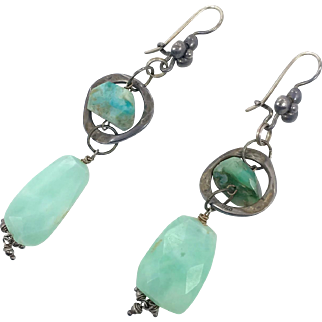 Amazonite Earrings, Turquoise Aqua, Sterling Silver, Studio, Handcrafted, Artisan, Earrings, Dangle, Long, Large, Bohemian, Boho, Big