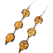 Amber Earrings, Sterling Silver, Long Dangles, Baltic Amber, Vintage Earrings, Pierced Dangles, Honey Amber, Boho Jewelry, 925, Large Big