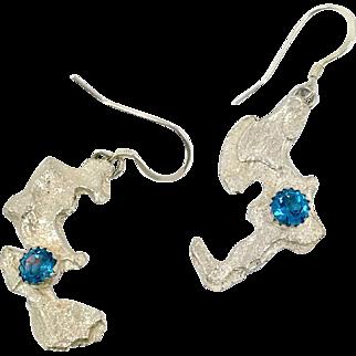 Brutalist Earrings, Sterling Silver, Blue Topaz, Vintage Earrings, Asymmetrical, Artisan, Handcrafted, OOAK, Unique, Unusual, Textured, Long