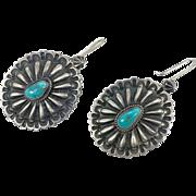 Turquoise Earrings, Sterling Silver, Vintage Earrings, Concho, Native American, Navajo, Big, Pierced, Southwestern, Sterling Jewelry